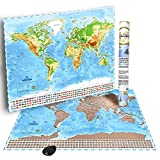 Scratch Off Map with US States-World Scratchable Travel Map 32.8 x 23.8 in, Personalized Travel Tracker, Colorful and Detailed Map Poster-Perfect gift for travelers-Scratch Pen & Gift Packaging