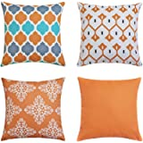 Pack of 4 Orange Outdoor Waterproof Double-sided Printing Decorative Throw Pillow Cover Cushion Case For Garden Tent Park Far