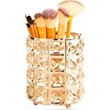 Tasybox Crystal Makeup Brush Holder Organizer, Handcrafted Cosmetics Brushes Cup Storage Solution (Gold)