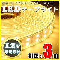 LEDテープライト 3m 12v 防水 車 船舶 ダブルライン 間接照明 トラック カー 照明 装飾 イルミネーション 屋外 300cm (電球色)