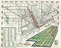 Historicマップ|デトロイト| DSRサービスマップ1956–57|アンティークヴィンテージReproduction 44in x 35in 5161405_4435