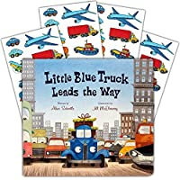 Little Blue Truck Board Book Set Baby Toddler -- Deluxe Lap Book with Sticker Pack (Little Blue Truck Leads The Way) [並行輸入品]