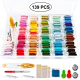 Embroidery Floss 139pcs Embroidery Thread String Kits 100 Skeins Premium Rainbow Floss Bobbins and Cross Stitch Kit with Orga