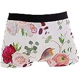 Jessgirl Men's Boxer Briefs Underwear Tag-Free Comfort Soft Beautiful Bird Peony Rose Flower