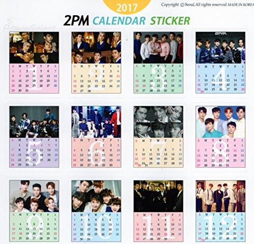 2PM 【 卓上 カレンダー (ミニ フォト 卓上カレンダー) 2017年 】 + ステッカーシール + メッセージカード [3点セット]