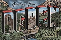 Greetings fromユタOgden、(山/川シーン) 24 x 36 Signed Art Print LANT-7234-710