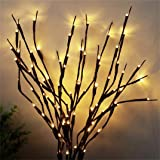 AMARS 2 Pack LED Willow Branch Lights Battery Powered 20inch LED Lighted Branches Artificial Twig Decorative Lights for Vase,