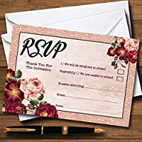 Coral Blush & Deepレッド水彩ローズPersonalized RSVPカード 40 Cards