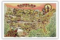 我が国を散策 - 1890年代の米国地図 - ビンテージ イラスト マップ c.1890 - アートポスター - 31cm x 46cm