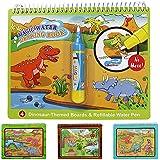 Jenilily ぬりえ こども お絵かきシート 魔法水図面帳 お絵かき 絵本 水でおえかき おもちゃ 知育玩具 カラフル 繰り返し可能(恐竜の世界)