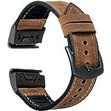 OTOPO Compatible Garmin Fenix 5X / 5X Plus Bands, 26mm Quick fit Hybrid Sport Band Vintage Leather Sweatproof Strap Wrist Ban