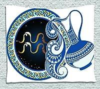 "Zodiacインテリアタペストリーby Ambesonne標識、on grungy背景Solar天体Constellation on human印刷、壁吊り下げ寝室リビングルームの寮、マスタードブラウン 80"" W By 60"" L wid_18696_80x60"