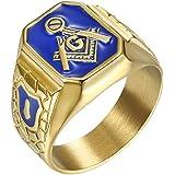 IFUAQZ Men's Stainless Steel Gold Plated Freemason Symbol Masonic Rings Blue G Lodge Master Mason Signet Biker Band