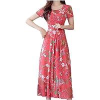 レディース ドレス Foreted 韓国ファッション ワンピース 花柄ドレス 半袖 二次会 カジュアル ロングワンピース…