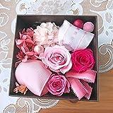 プチBOX・カリーナ♪ プリザーブドフラワー サイズ高7.5cm×幅9.5cm 【母の日 ギフト 誕生日】 (ピンク)