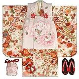 七五三 着物 3歳 女の子 被布セット マユミ 白地 被布淡いピンク 刺繍桜 足袋付き