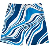 doginthehole Men's Quick Dry Drawstring Waist Swim Trunks Print Board Shorts with Mesh Lining