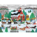 Bits and Pieces - 300 Large Piece Jigsaw Puzzle for Adults - Jingle Bell Sleigh Society - 300 pc Horse Sleigh Riding Jigsaw by Artist Mark Frost [並行輸入品]