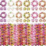 ゴシレ Gosear 12セットハワイアンレイルアウパーティー用品花ネックレスヘッドバンドリストバンド用トロピカルホリデービーチパーティー好意装飾