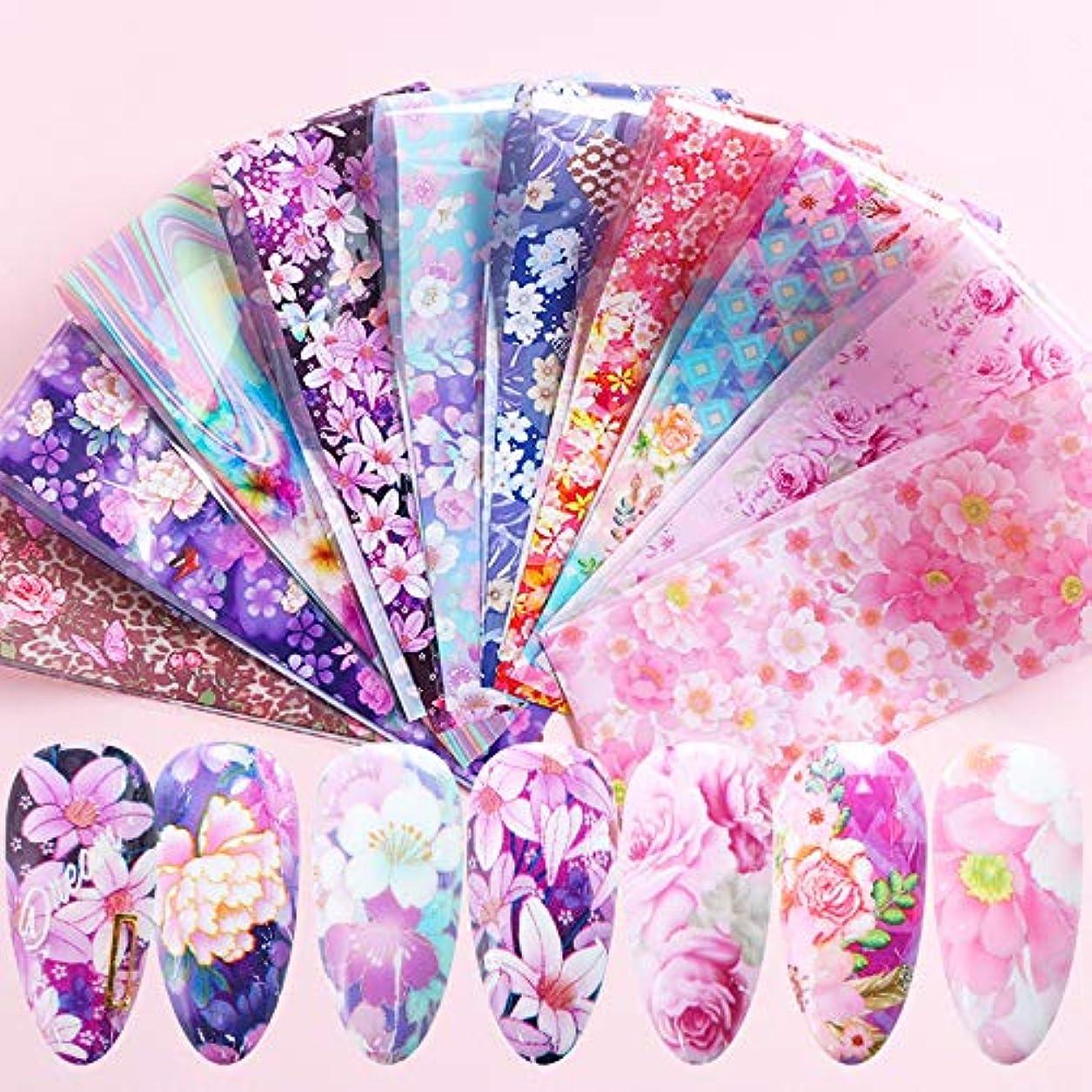 刺繍満足ドリル10枚 満開 桜 ピンク 花 フラワー ネイルホイル 春 ネイルデコ ステッカー ネイルアート ホイル