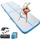 Ewinusun 13/16FT Gymnastics Tumbling Mat Air Track Floor Inflatable Mats with Electric Air Pump for Home Use/Tumble/Gym/Train
