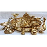 Worth Praize Brass Puja Thali Set (15 Items) - with Handles for Puja, Gift, Home Decor - 11 inches