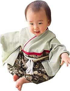 Sweet Mommy 袴 ロンパース ベビー 着物 カバーオール 日本製和柄ちりめん オーガニックコットン身頃 ブラック 80