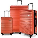 Eaglemate 3pcs Luggage Set Suitcase Travel Carry On Hard Case Soft Lightweight Luggage Set (Orange)