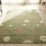 洗える 抗菌 ラグ カーペット かわいい 水玉 模様 ( 190X240 cm グリーン ) 約 3畳 日本製 ホットカーペット 床暖房対応