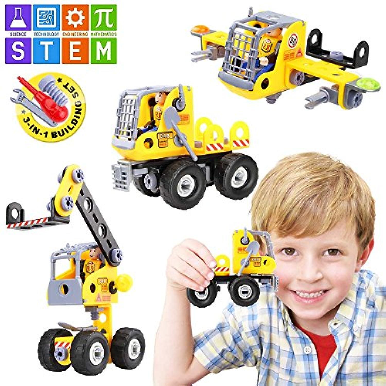 baztoy StemおもちゃBuilding Blocksセット子供用おもちゃ3 - in - 1 Stacking ConstructionエンジニアリングTransform Car AirplaneクレーンおもちゃDIY Take Apart構築の学習モデル男の子と女の子誕生日クリスマス