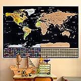 世界地図 ポスター スクラッチマップ 学習地図 旅行記念日記 クリスマス人気プレゼント 貼ってはがせる 世界全図 国旗入り おしゃれ インテリア 壁 アンティーク(82 x 59cm)