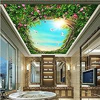 Wuyyii カスタム写真壁画壁紙森白鳩花つる天井壁画壁紙用リビングルーム寝室天井装飾-250X175Cm