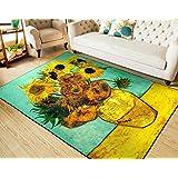 RUIKA ゴッホ ひまわり 世界名画 Sunflowers 柔らかいラグ カーペット ラグマット 丸洗い 折り畳み可能 滑り止め付き 絨毯 ホットカーペット対応 約100x150cm [並行輸入品]