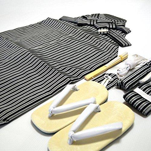 七五三 3歳 5歳 男児 縞 袴 セット男の子 2サイズ2色/M(55cm) 黒