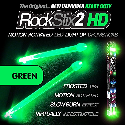 ROCKSTIX 2 HD GREEN BRIGHT LED LIGHT UP DRUMSTICKS with fade effect Set your gig on fire! [並行輸入品]