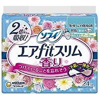 ソフィ エアフィットスリム ハッピーブーケの香り 210 多い昼~ふつうの日用 羽つき 21cm 24コ入 (unicharm Sofy)