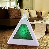 新しいプロモーション7 ledカラーピラミッドデジタルlcdアラーム時計温度計ベストセラー