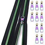 Nylon Coil Zippers by The Yard #5-Long Zippers for Sewing Green Metallic Teeth Black Tape 5 Yard with 10PCS Rainbow Slider-VO