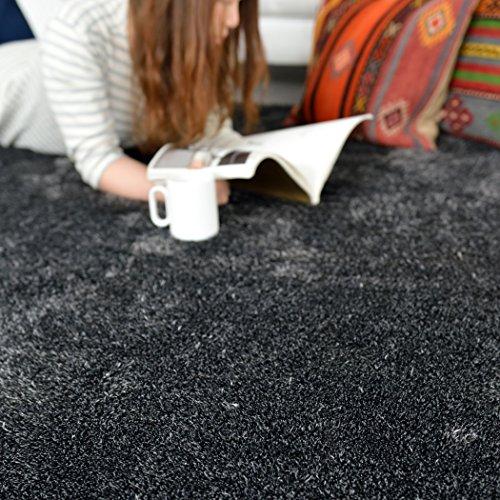 カーペット 洗える シャギー ラグ ブラック(グレー) 190×190 cm 約 2畳 マット ホットカーペット対応 なかね家具 223roshe