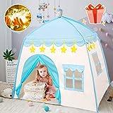 キッズテント ボールハウス 子供用テント ブルー LEDライト・飾り・収納バッグ付き 室内 組み立て式 収納簡単 誕生日 クリスマス 出産祝いプレゼントに最適 BEEWAYS