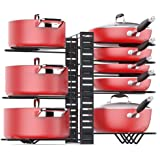 Pan Organizer Rack For Cabinet With 3 Diy Methods, Adjustable Pots Pans Organizer Rack With 8 Metal Shelves, Pan Pot Storage