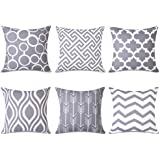 Topfinel Square Decorative Throw Pillow Covers Soft Canvas Outdoor Cushion Covers 18 x 18 for Sofa Bedroom, Set of 6, Grey