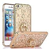 iPhone6s Plus ケース iPhone6 plus ケース 3D加工が美しい 鮮やかクリアカラー リング付きスマホケース スマートフォン 落下防止 (iPhone6 Plus/6s Plus, Gold)