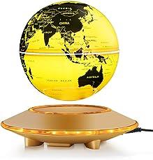 Yosoo 磁気浮上 地球儀 浮遊・回転型の地球儀 浮く地球儀 自動回転 LEDライト 空中浮遊 空中浮揚 世界地図 360度回転 球体点灯回転 電磁誘導 リニアモーターカー地球儀 英語表記 ベース付き 点灯 オフィス 飾り用品 世界地図 教学用 (ゴールド(6inch))