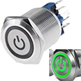 WerFamily 22mm Latching Push Button Switch 1NO 1NC SPDT ON/Off Waterproof Stainless Steel Metal Round with Green LED Angel Ey