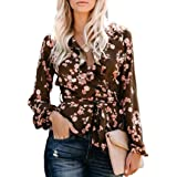 Farktop Womens Floral V Neck Tops Long Sleeve Wrap Chiffon Ruffle Blouses Tie Waist Knot Shirts