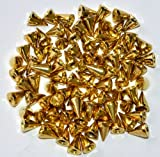 【サイズ・色 選択可】 スタッズ パーツ 鋲 スパイク 100個セット ゴールド/シルバー ベルトや靴のリメイク・製作に (直径7mm×高さ10mm, ゴールド(金色))