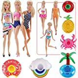 "E-TING Fashionistas 9PCS Doll Clothing Pack, 3 Sets 11.5"" Girl Dolls Swimsuits with 3 Pairs Shoes and 3-Pieces Cute Swimming"