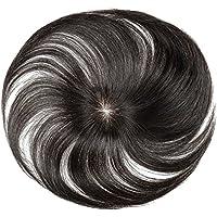 FESHFEN ウィッグ ポイントウィッグ 白髪隠れ wig ヘアピース 人毛 部分ウィッグ ステルス手植え トップカバー 自然黒 レディース