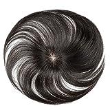 FESHFEN ウィッグ ポイントウィッグ 白髪隠れ wig ヘアピース 人毛 部分ウィッグ ステルス手植え トップカバー 自然黒 かつら 医療用 レディース 6cm*10cm